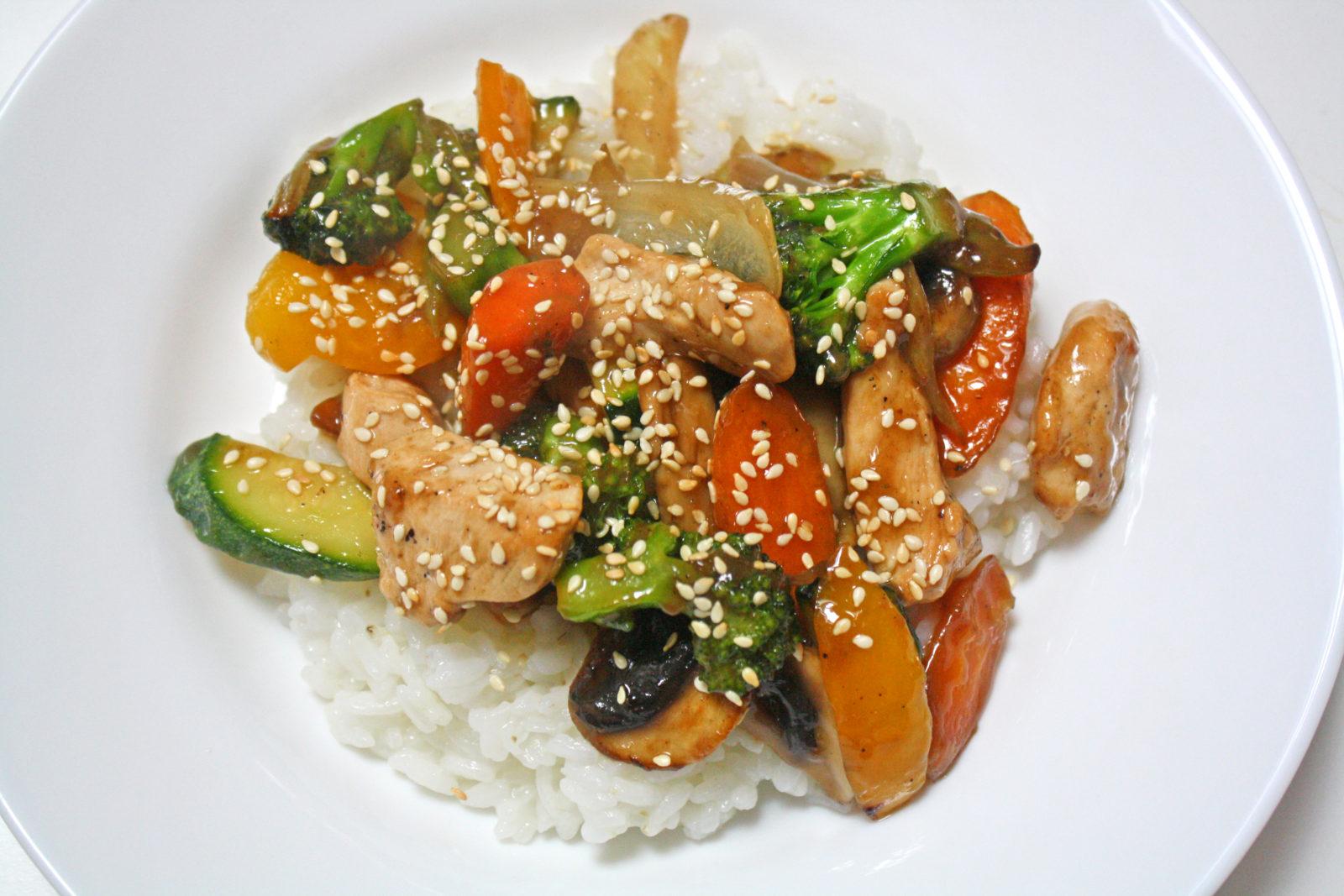 Salteado de pollo y verduras