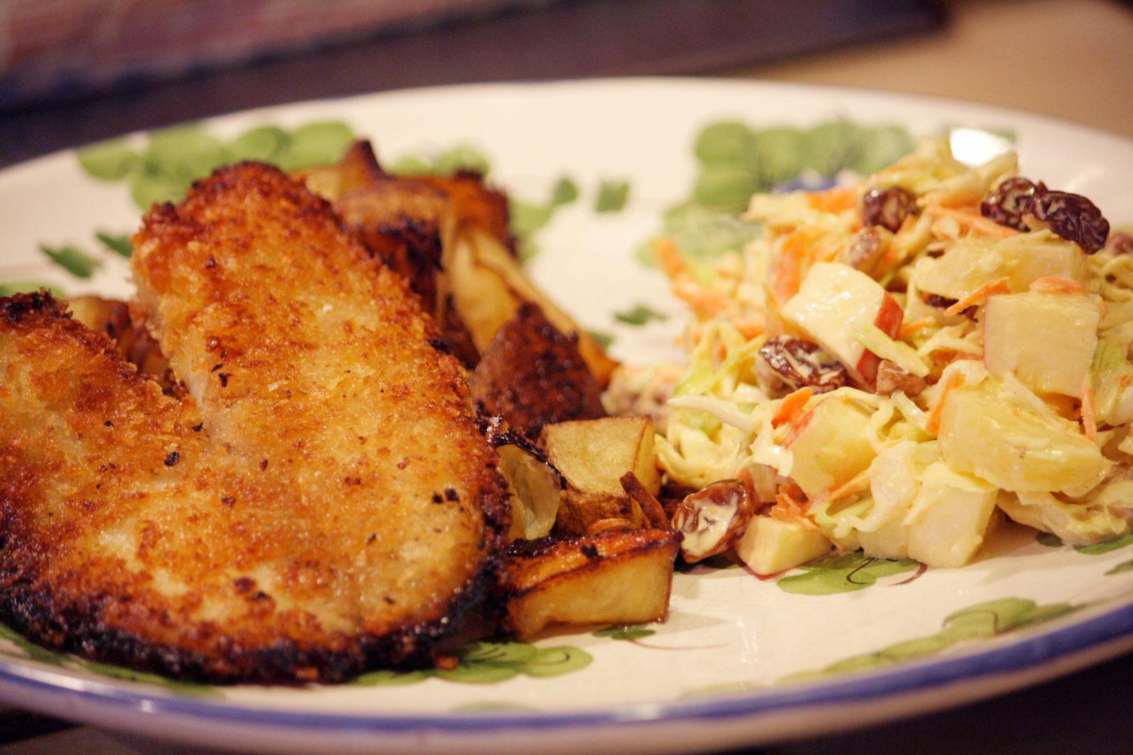 Filete de pescado con mostaza, miel y panko